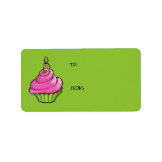 Pink & Green Cupcake green Gift Tag Address Label