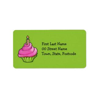 Pink & Green Cupcake green Address Label