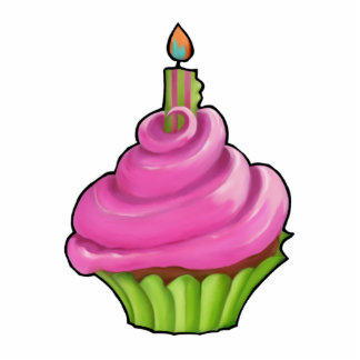 Pink & Green Cupcake Party Cake Topper Standing Photo Sculpture
