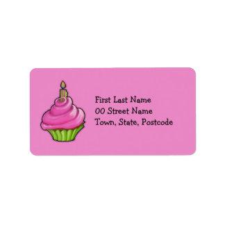 Pink & Green Cupcake pink Address Label
