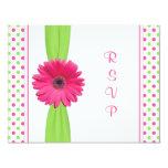 Pink Green Daisy Polka Dot Bat Mitzvah RSVP Card 11 Cm X 14 Cm Invitation Card