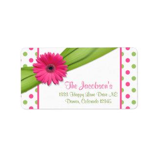 Pink Green Daisy Polka Dots Return Address Labels