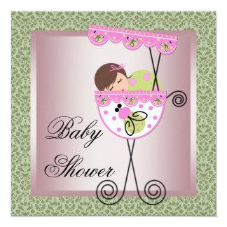 Pink Green Damask Baby Girl Shower Invitations