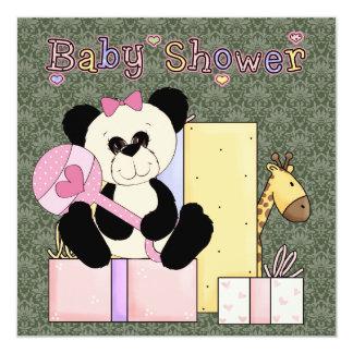 Pink Green Damask Teddy Bear Baby Girl Shower 13 Cm X 13 Cm Square Invitation Card