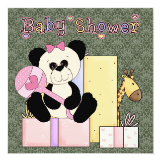 Pink Green Damask Teddy Bear Baby Girl Shower Card