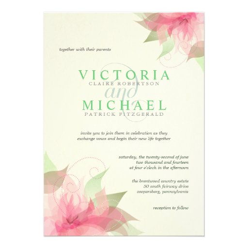 Pink Green Ecru Floral Wedding Invitations