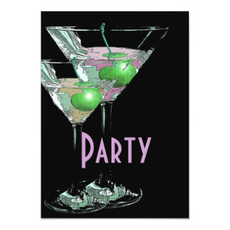 Pink green elegant formal party 13 cm x 18 cm invitation card