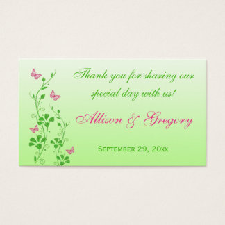 Pink, Green Floral, Butterflies Wedding Favor Tag