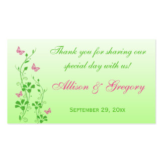 Pink, Green Floral, Butterflies Wedding Favor Tag Business Cards