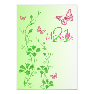 Pink, Green Floral Buttterflies 21st Birthday Card