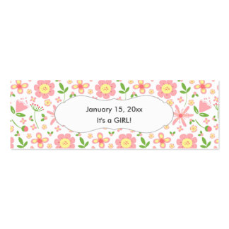 Pink Green Floral Favor Tag / wedding baby shower Pack Of Skinny Business Cards