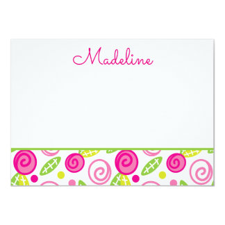 Pink & Green Floral Personalized Flat Note cards 11 Cm X 16 Cm Invitation Card