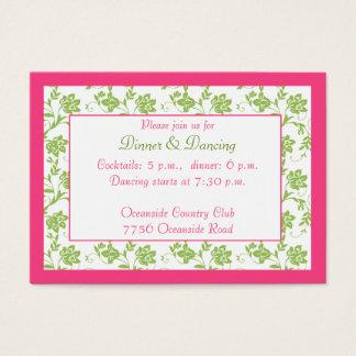 Pink Green Floral Wedding Reception Card
