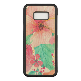 Pink & Green Flowers Closeup Carved Samsung Galaxy S8+ Case