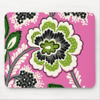 Pink Green Flowers Mousepad
