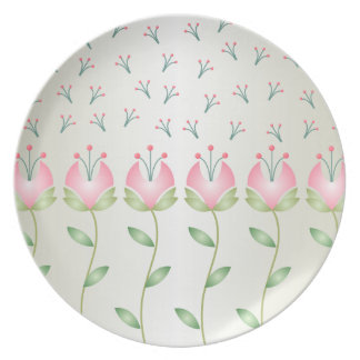 Pink & Green Flowers & Seeds Plate