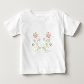 Pink-Green-Flowers-Watercolor Baby T-Shirt