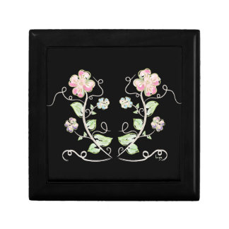 Pink-Green-Flowers-Watercolor Small Square Gift Box