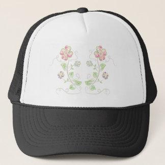 Pink-Green-Flowers-Watercolor Trucker Hat