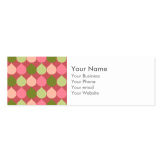 Pink Green Geometric Ikat Teardrop Circles Pattern Business Card
