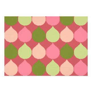 Pink Green Geometric Ikat Teardrop Circles Pattern Invitations