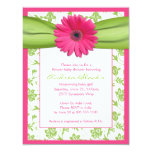 Pink Green Gerbera Daisy Baby Shower Invitation