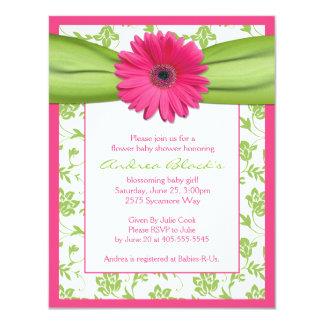 Pink Green Gerbera Daisy Baby Shower Invitation