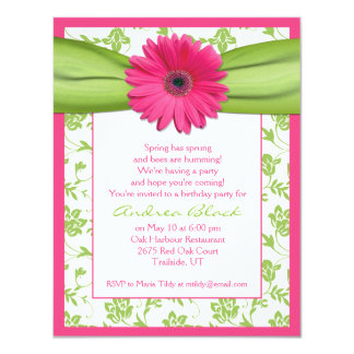 Pink Green Gerbera Daisy Birthday Invitation