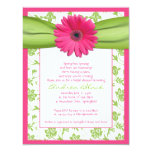 Pink Green Gerbera Daisy Bridal Shower Invitation