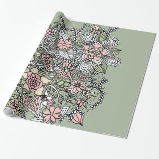 Pink green hand drawn modern floral pattern wrapping paper