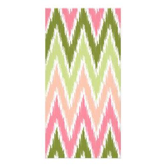 Pink Green Ikat Chevron Zig Zag Stripes Pattern Personalised Photo Card