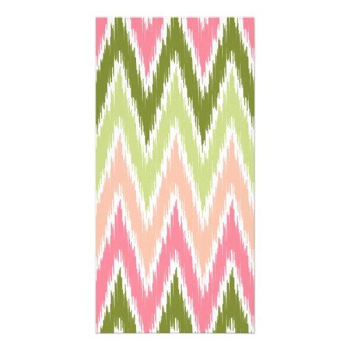 Pink Green Ikat Chevron Zig Zag Stripes Pattern Custom Photo Card