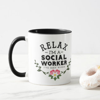 Pink green Leaf Floral Quote Relax Social Worker Mug