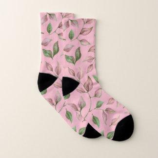 Pink Green Leaves on Light Pink Socks