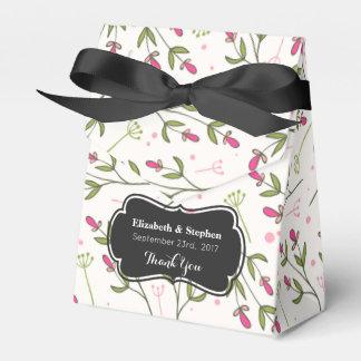 Pink & Green Long Stem Wildflower Wedding Thanks Favour Box