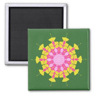 Pink green mandala refrigerator magnet