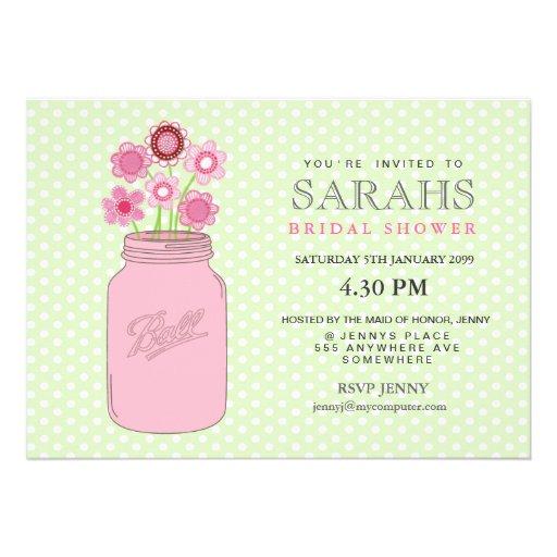 Pink + Green Mason Jar Flowers Bridal Shower Party Custom Invitations