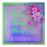 """Pink Green Neon Grunge Butterfly Sweet 16 Birthday 5.25"""" Square Invitation Card"""