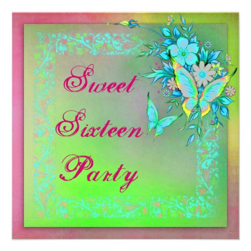 Pink Green Neon Grunge Butterfly Sweet 16 Birthday Announcement
