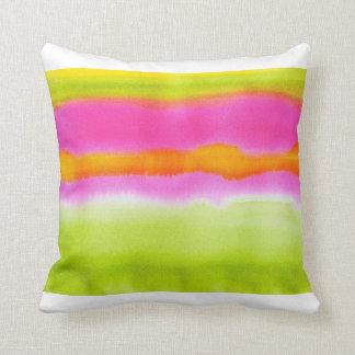Pink Green Orange Watercolor Pillow