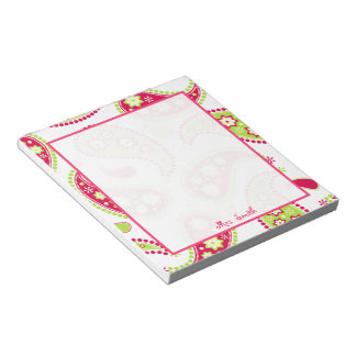 Pink & Green Paisley Personalized Notepad