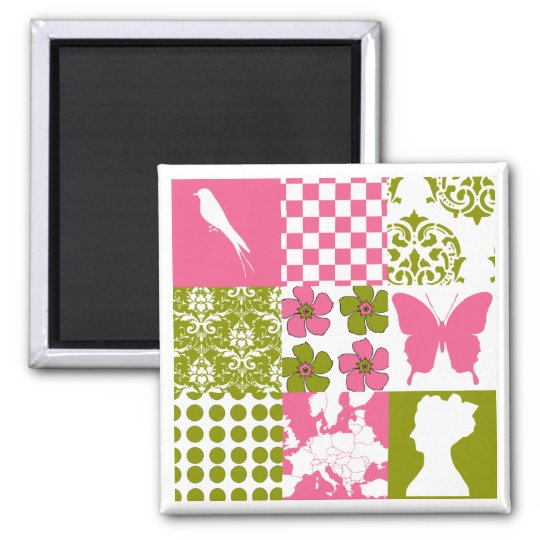 Pink & Green Patchwork Magnet