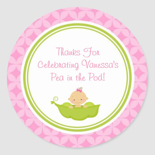 Pink & Green Pea in the Pod Baby Shower Stickers