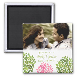 Pink Green Petals Save the Date Wedding Magnet