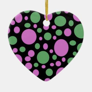pink green pokka dots ceramic ornament