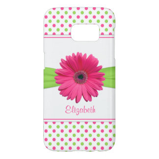 Pink Green Polka Dot Gerbera Daisy