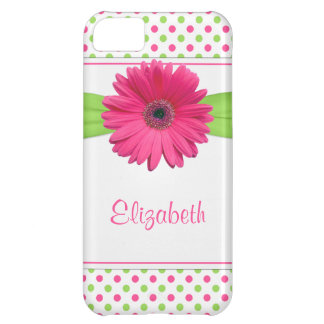 Pink Green Polka Dot Gerbera Daisy iPhone 5C Case