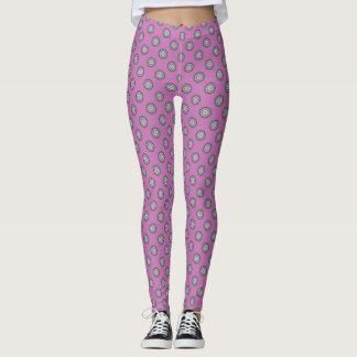 Pink Green Polka Dot Pattern Leggings
