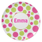 Pink & Green Polka Dot Personalised Plate