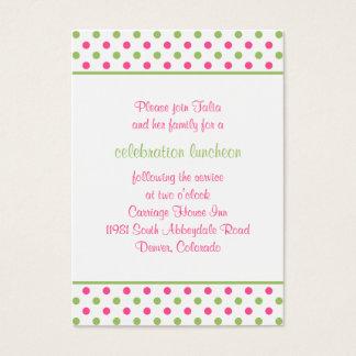 Pink Green Polka Dots Bat Mitzvah Reception Card